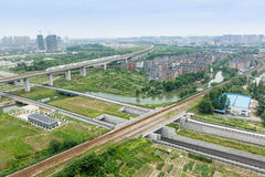 Suburbs aerial view. Hangzhou suburbs aerial view in China Stock Photography
