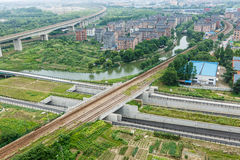 Suburbs aerial view. Hangzhou suburbs aerial view in China Royalty Free Stock Photography
