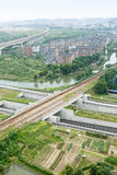 Suburbs aerial view. Hangzhou suburbs aerial view in China Royalty Free Stock Photo