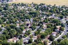 Suburbs Aerial. Aerial view of neighborhood suburbs around the city of Reno, Nevada, USA Royalty Free Stock Photo