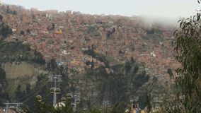 Suburbs with cableway in La Paz, Bolivia stock footage