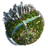 Suburbs and city globe concept stock illustration