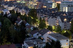 Suburbs in Evening Landscape. Suburbs in Evening, Frankfurt, Germany - Landscape aspect Royalty Free Stock Photo