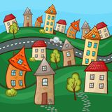 Suburbs and houses Stock Images
