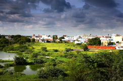 Suburbs of Hyderabad india. Kottur village suburb of Hyderabad India on a stormy day Royalty Free Stock Photography