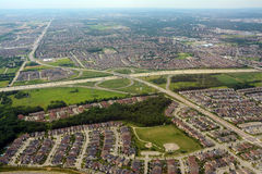 Suburbs and interaction, aerial view. Suburbs and interaction in North America, aerial view Royalty Free Stock Image