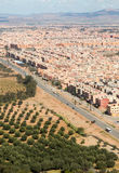 Suburbs of Marrakesh aerial view from top with Atlas mountains i. N background. Vertical view with high horizon Stock Photo