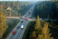 Suburbs at morning rush time 2742. Morning rush hour traffic near Riga city. Shot from hot air baloon Stock Photography