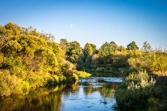The suburbs of the Moscow city. River Kirzhach. Evening. Stock Photos