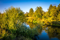 The suburbs of the Moscow city. River Kirzhach. Evening. Stock Photo