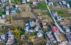 Suburbs of Pokhara aerial view. Nepal Royalty Free Stock Photography