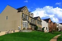 Suburban Houses Green Lawn Stock Photos