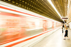 Subway. Subway train pulling into the station. Motion blur picture. color version Royalty Free Stock Photos