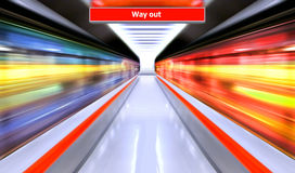Subway. Motion blur outdoor of high speed train in subway Stock Image
