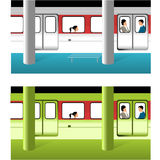 Subway. Train and station in two colors Royalty Free Stock Photography
