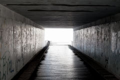 Subway. Light in the end of a dark tunnel Stock Image