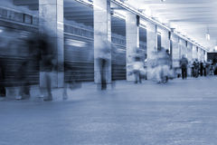 Subway. Underground station, motion blur Royalty Free Stock Images