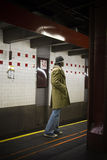 Subway. Man waiting for the subway in New York City royalty free stock images