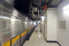 Subway. A running subway pass through station Stock Images