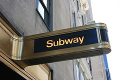 Subway. Sign in New York City royalty free stock photo