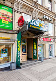 Subway is an American fast food franchise offering sub sandwiche Royalty Free Stock Image