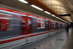 Subway approaching train Royalty Free Stock Images