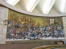 Subway art. SAINT PETERSBURG, RUSSIA - NOVEMBER 07, 2013: Mosaic in a subway gallery Stock Image