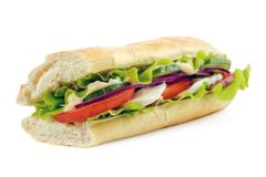 Subway baguette bread. Half of subway baguette bread, with lettuce, cucumber, onion, tomato and mozzarella cheese,  on white Stock Photo