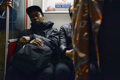 Subway Blues. A single heartbreaking expression captured at Pape station, Toronto Stock Image