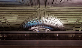 Subway blur and dramatic ceiling of the Washington DC Metro stat Royalty Free Stock Images