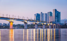 Subway and Bridge at Hanriver in Seoul Stock Photos