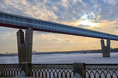 Subway bridge. Bridge over the river covered with ice Royalty Free Stock Photo