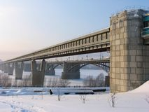 Subway bridge over river Ob stock photos