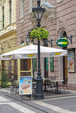 Subway Budapest. BUDAPEST, HUNGARY - JULY 13, 2015: A Subway fast food restaurant in Budapest. Famous sub sandwich franchise in Zrinyi street in Budapest Royalty Free Stock Images