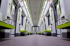 Subway Car. Inside a green empty subway car Stock Images