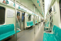 Subway car. The inner scenery of subway car in Beijing, China Stock Photo