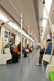 The subway car. The picture was taken on Dec 21st,2011 in the Line No7. metro Shanghai, China. This metro line was newly-open then. The subway car was modern Royalty Free Stock Photo