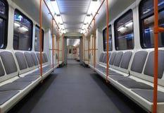 Subway Car. Train wagon - empty wagon with seats Royalty Free Stock Photography