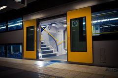 Subway carriages. Parked in the subway platform Royalty Free Stock Photos