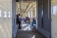 Subway cars inside in Budapest Stock Photos