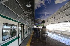 Subway cars in a station in Sofia, Bulgaria on 2 April 2015 Stock Images