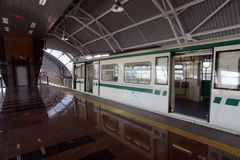 Subway cars in a station in Sofia, Bulgaria on 2 April 2015 Royalty Free Stock Photography