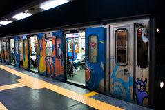 Subway coach at station. A Subway car painted by graffiti writers  at station with opened doors Royalty Free Stock Photo