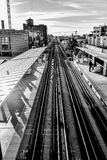 City Urban commuter train tracks Royalty Free Stock Images