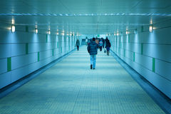 Subway corridor and people walking Royalty Free Stock Photo