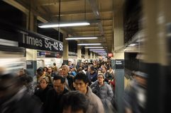 Subway crowd. Rush hour at Time Square subway station Stock Image