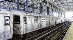 Subway. Departing subway train in the solar powered subway station at Coney Island - Brooklyn, NY Stock Photo