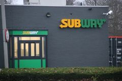 Subway drive through at a petrol station of Esso in Nieuwerkerk aan den IJssel. In the Netherlands stock photos