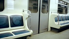 Subway, empty carriage of train. With no people stock video
