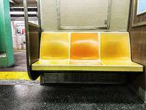 Subway with empty seats stock photography
